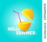 vector hello summer beach party ... | Shutterstock .eps vector #1095660929