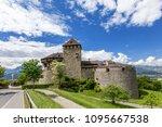 vaduz castle with mountain road ... | Shutterstock . vector #1095667538