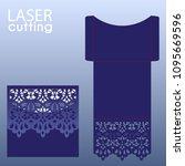 die laser cut wedding card... | Shutterstock .eps vector #1095669596