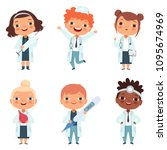 doctor profession. childrens in ... | Shutterstock .eps vector #1095674969
