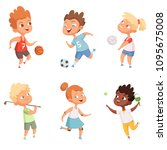 children outdoors in action... | Shutterstock .eps vector #1095675008