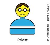 priest icon isolated on white... | Shutterstock .eps vector #1095676694
