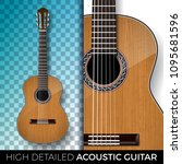 acoustic guitar isolated on... | Shutterstock .eps vector #1095681596