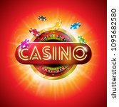 casino illustration with shiny... | Shutterstock .eps vector #1095682580