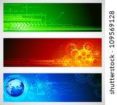 illustration of set of technology banner for designing - stock vector
