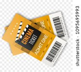 two cinema tickets isolated on... | Shutterstock .eps vector #1095695993