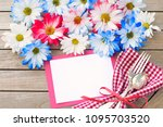 daisy flowers in red white and... | Shutterstock . vector #1095703520