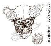 skull contour sketch for tattoo ... | Shutterstock .eps vector #1095710783