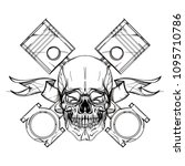skull contour sketch for tattoo ... | Shutterstock .eps vector #1095710786