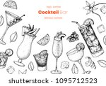 alcoholic cocktails hand drawn... | Shutterstock .eps vector #1095712523