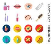 mascara  hairbrush  lipstick ... | Shutterstock .eps vector #1095713039