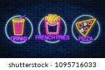 set of three neon glowing signs ... | Shutterstock .eps vector #1095716033