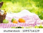 wicker basket on red checkered... | Shutterstock . vector #1095716129