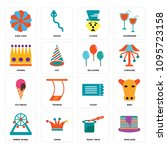 set of 16 simple editable icons ... | Shutterstock .eps vector #1095723158