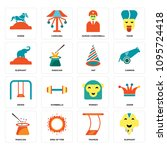 set of 16 simple editable icons ... | Shutterstock .eps vector #1095724418