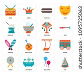 set of 16 simple editable icons ...   Shutterstock .eps vector #1095725063