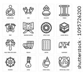set of 16 simple editable icons ... | Shutterstock .eps vector #1095726200