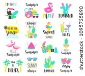 summer lettering set with... | Shutterstock .eps vector #1095735890