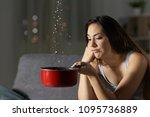 desperate woman having water... | Shutterstock . vector #1095736889
