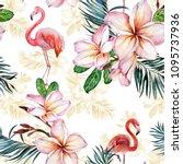 beautiful flamingo and plumeria ... | Shutterstock . vector #1095737936