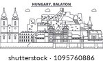 hungary  balaton line skyline... | Shutterstock .eps vector #1095760886