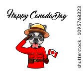 french bulldog happy canada day.... | Shutterstock .eps vector #1095768323