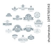 pizzeria logo icons set. simple ... | Shutterstock .eps vector #1095785543