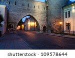 Old Tallinn city wall at night - stock photo