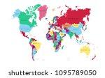 color world map  | Shutterstock .eps vector #1095789050
