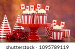 red and white theme cupcakes... | Shutterstock . vector #1095789119