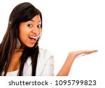 woman presenting something with ... | Shutterstock . vector #1095799823