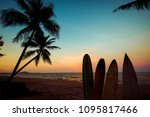 silhouette surfboard on...   Shutterstock . vector #1095817466