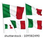 italy vector flags set. 5 wavy...   Shutterstock .eps vector #109582490