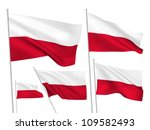 Stock vector poland vector flags set wavy d cloth pennants fluttering on the wind eps created using 109582493