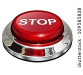 Stop Button  3d Red Glossy...