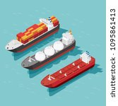 isometric cargo ship container  ... | Shutterstock .eps vector #1095861413