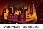 london in fire of plague... | Shutterstock .eps vector #1095862358