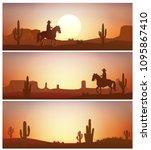 cowboy riding horse against... | Shutterstock .eps vector #1095867410