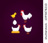 chicken icon set. isolated... | Shutterstock .eps vector #1095878210