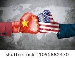 concept of trade war between...   Shutterstock . vector #1095882470