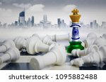 Small photo of Image of a chess king with India flag defeating white chess pieces. Shot with modern city