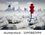 Small photo of Image of a chess king with Indonesia flag defeating white chess pieces. Shot with modern city