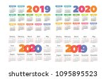 calendar 2019 and 2020 vector... | Shutterstock .eps vector #1095895523