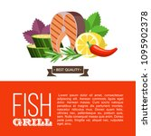 grilled fish. delicious grilled ... | Shutterstock .eps vector #1095902378
