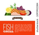 grilled fish. delicious grilled ... | Shutterstock .eps vector #1095902384