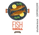 fish on the grill. appetizing... | Shutterstock .eps vector #1095902399