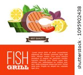 grilled fish. delicious grilled ... | Shutterstock .eps vector #1095902438