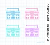 retro audio set .painted tape... | Shutterstock .eps vector #1095903590