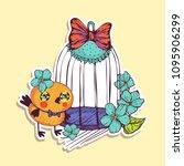 romantic sticker cartoon chick  ... | Shutterstock .eps vector #1095906299