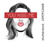 kiss me slogan with girl... | Shutterstock .eps vector #1095912668